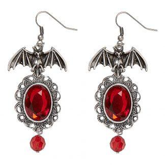 Örhängen Fladdermöss med Röda Stenar