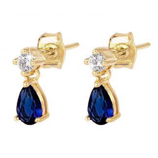 18K Guldpläterade Örhängen - hängande blå droppe