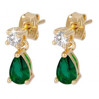 18K Guldpläterade Örhängen - hängande grön droppe