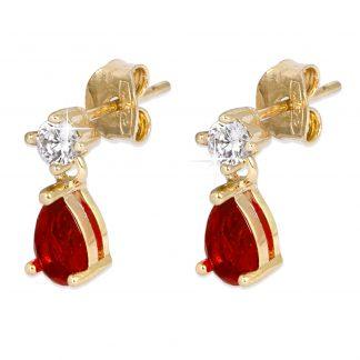 18K Guldpläterade Örhängen - hängande röd droppe