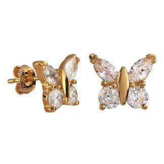 18k Guldpläterade Örhängen med Kubisk Zirkonia - Fjärilar
