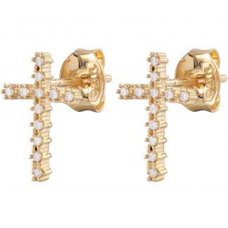 18k Guldpläterade örhängen - Kors med Kubisk Zirkonia
