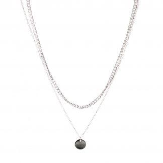 2- Radigt Halsband Med Kedja Och Berlock, silver