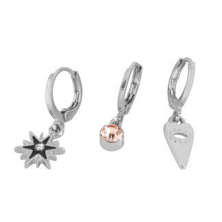3-pack örhängen huggies silver Montini
