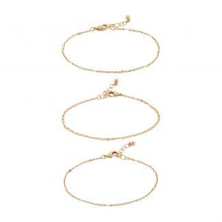 Armband - 3-pack guldfärgade tunna armband