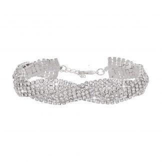 Armband - Flätat silverfärgat med strass