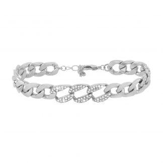 Armband - Silverfärgat armband, kedja med kristaller