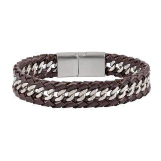 Armband i brunt läder och stål - Herr
