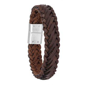 Armband i mörkbrunt flätat läder och stål - Herr