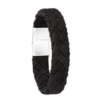 Armband i svart flätat läder och stål - Herr