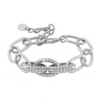 Armband - silverfärgat med kedja och glitter