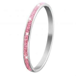 Armband stål, bangle med rosa stenar - Barn