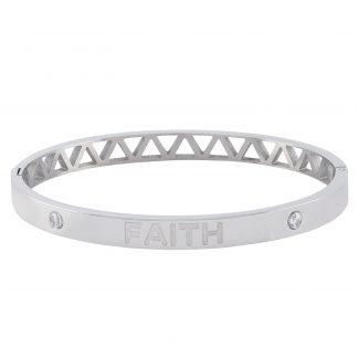 Armband stål, bangle med texten Faith