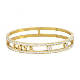 Armband stål, guldfärgad med vita stenar - Love