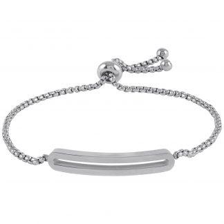 Armband stål med slät bricka