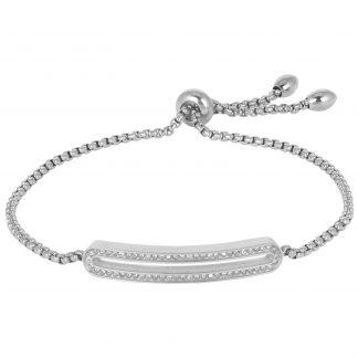 Armband stål med vita kristaller
