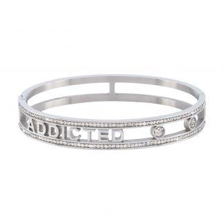 Armband stål med vita stenar - Addicted