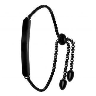 Armband stål, svart med slät bricka