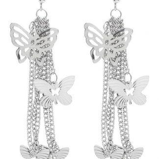 Cellbes Örhängen med fjärilar Silverfärgad