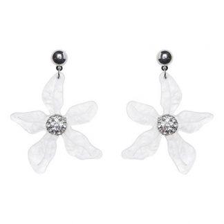 Cellbes Blomformat örhänge med glittrande stenar Silverfärgad Vit