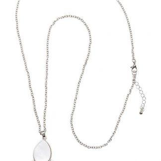 Cellbes Halsband med pärlemorfärgat hänge Vit Silverfärgad