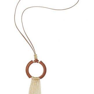 Cellbes Halsband med ring och metallhänge Brun Guldfärgad