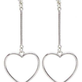 Cellbes Hjärtformade örhängen Silverfärgad