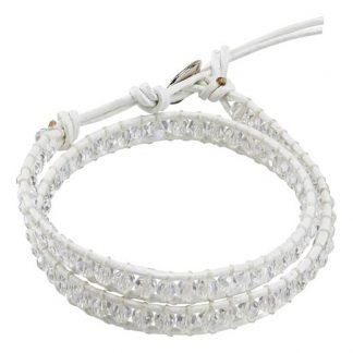 Cellbes Läderarmband med pärlor 2-varv Vit