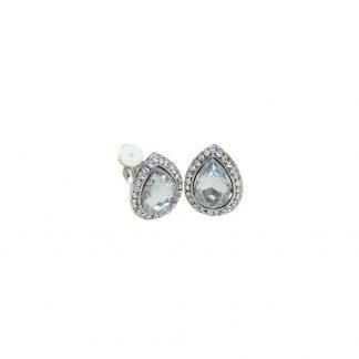 Clipsörhängen med droppformad sten