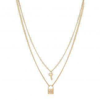 Guldfärgat halsband med berlock - Nyckel och lås