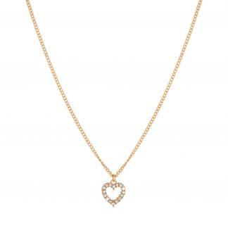 Guldfärgat halsband med hjärta som berlock