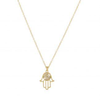 Guldförgat halsband med Fatimas hand