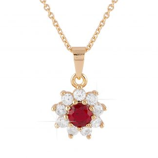 Guldpläterat halsband - Berlock blomma med röd och vita Kubisk Zirkonia