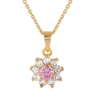 Guldpläterat halsband - Berlock blomma med rosa och vita Kubisk Zirkonia