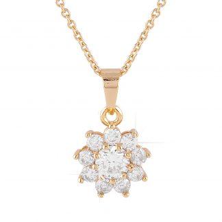 Guldpläterat halsband - Berlock blomma med vita Kubisk Zirkonia