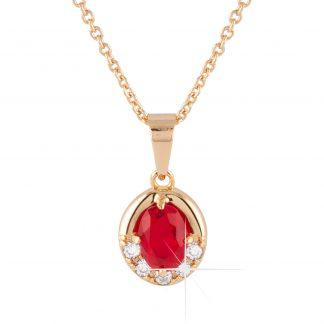 Guldpläterat halsband - Berlock med röda och vita Kubisk Zirkonia