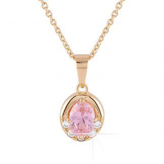 Guldpläterat halsband - Berlock med rosa och vita Kubisk Zirkonia