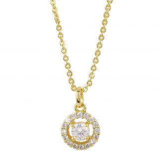 Guldpläterat halsband - Berlock med vit Kubisk Zirkonia
