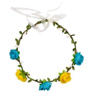 Hårkrans blå och gula blommor