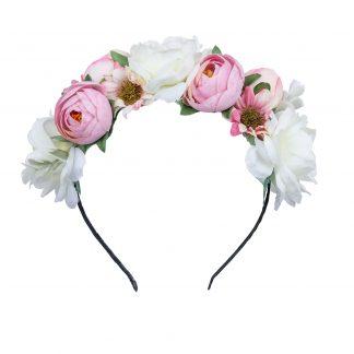 Hårkrans med vita och rosa blommor