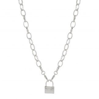 Halsband - silverfärgad kedja med hänglås