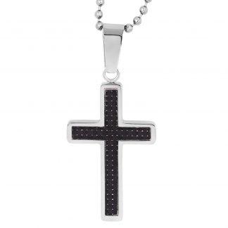 Halsband stål kulkedja med kors - Herr