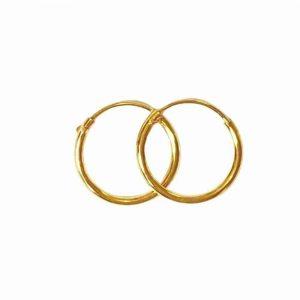 Örhänge 10 mm guldpläterade äkta silverringar - creoler