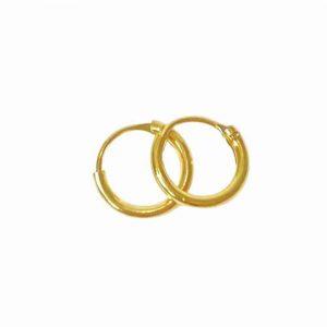 Örhänge 6 mm guldpläterade äkta silverringar - creoler